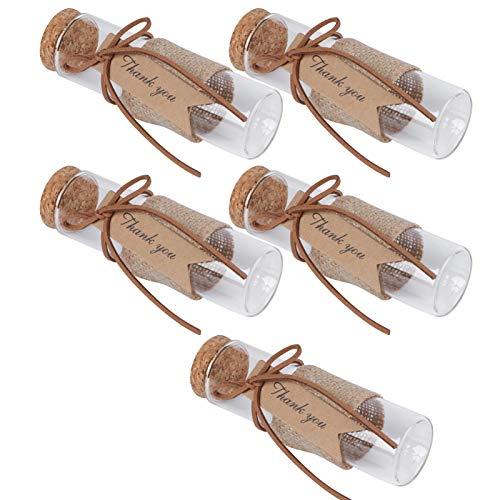 VALICLUD Tarro de Cristal de 5 Piezas con Tapas de Corcho Botellas de Favor de Fiesta de Boda con Etiquetas Y Cuerdas para Pudín de Caramelo Yogurt Mensaje de Deseo