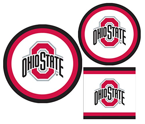 Ohio State Buckeyes Party Supplies - Bundle Includes Paper Plates and Napkins for 10 People