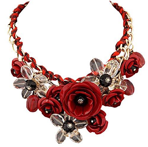 DELEY Damen Blumen Charme Kristall Chunky Kette Bib Statement Choker Kragen Halskette Rot