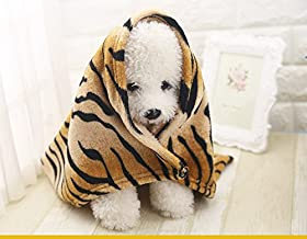 Pengcher Pet Blanket Polar Fleece Brown Tiger Print Dog Blanket Pet Blanket Polar Fleece Brown Tiger Print Dog Blanket(90c...