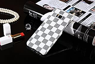 HeiL S8plus TPU (Fast US Deliver Guarantee Fulfilled by Amazon) New Elegant Luxury PU Leather Checker Pattern Classic Style Cover Case for Samsung Galaxy S8PLUS / s8 Plus ONLY (White)