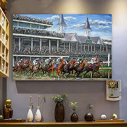 Kentucky Derby Horse Racing Canvas Wall Art Print Paintings Modern Artwork for Living Room Wall Decor and Home Décor Framed Ready to Hang,Waterproof Artwork