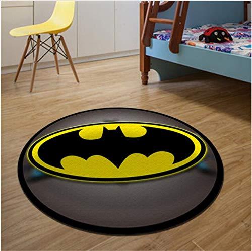 lili-nice Alfombra Redonda Batman Superman Impreso Alfombras Suaves Alfombras Antideslizantes Superhéroe Silla para Computadora Alfombrilla para El Hogar Habitación para Niños 80 Cm