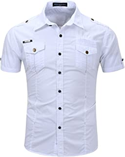 HULANG Mens Military Short Sleeve Twill Work Shirts Casual Button Down Shirts Pockets …