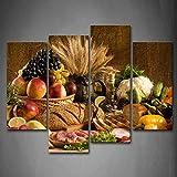 Primer arte de la pared moderno 4 paneles lienzo fruta fresca en la mesa cocina arte de la pared pintura la imagen impresión en lienzo alimentos cuadros colorido