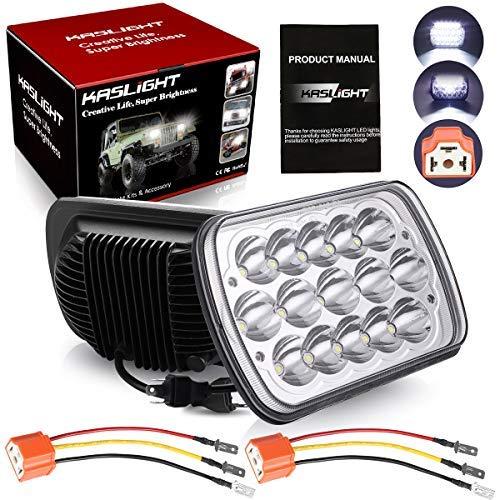 H6054 Led Headlights W/ Pair Ceramic H4 Socket, Pair 7x6 Led Headlights 6054 Led Headlight 7x6 Headlights H6054 Led Headlight Hi/Low Sealed Beam 5x7 Led Headlight for Jeep Xj Yj Cherokee E250