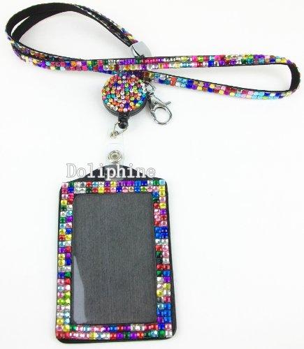 Multi-Colors Rhinestone set LANYARD, Retractable Reel and Vertical Badge Holder (Rainbow)