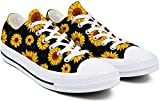 Heart Wolf Sunflower Shoes,Sunflower Gifts,Sunflower Shoes Women,Low-Cut Laced Sunflower Shoes for Women Non-Slip Durable Sunflower Sneakers
