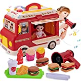 Tovol Zerly Food Truck Toy for Kids Food Doll Pretend Play with Voice Changer Megaphone Street Food Playset Sound and Light Vehicle for Kid Girl Boy 3,4,5,6 Years Old