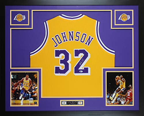 Magic Johnson Autographed Yellow Los Angeles Lakers Jersey - Beautifully Matted and Framed - Hand Signed By Magic Johnson and Certified Authentic by Beckett - Includes Certificate of Authenticity