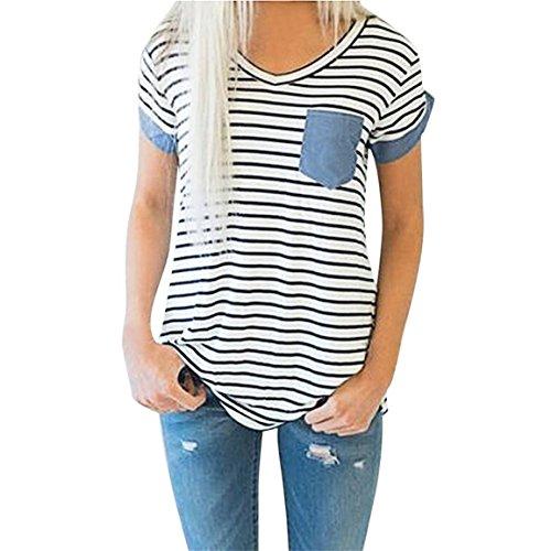 Moonuy,Frauen Kurzarm-Oberteile, 2018 Mode V-Ausschnitt Damen Striped Patchwork Bluse Kleidung T-Shirt mit Taschen Bleistift Pullover Freizeit Sweatshirt für Frauen (EU 36 / Asien M, Weiß)