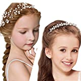 2 Pieces Bridal Headpiece Rhinestone Wedding Headband Faux Pearl for Flower Girl Crown Crystal Hair Vine for Brides Party Evening Hair Accessory (White Beads)