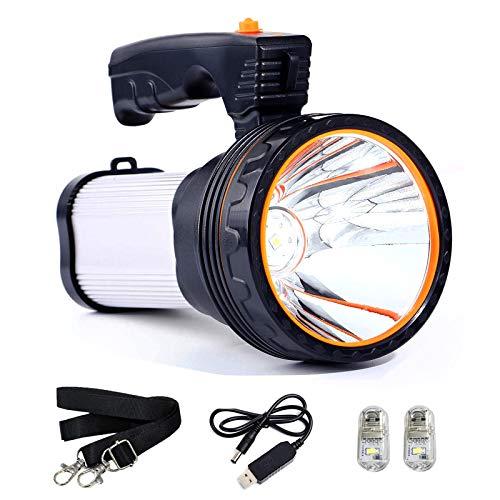 TONGNAN High Power Super Bright Portable Handheld Spotlight Flashlight 7000 Lumens USB Rechargeable LED Searchlight Waterproof Outdoor Torch Light (Silver)