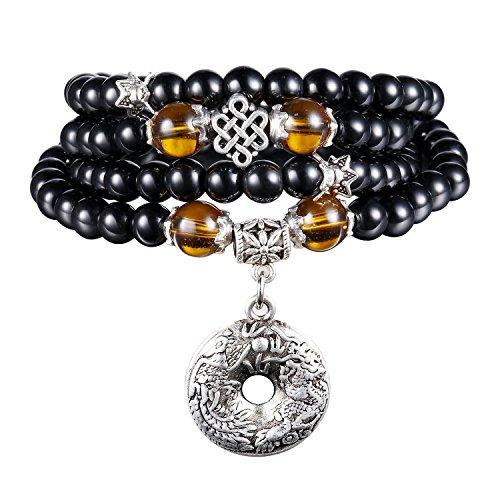 108 Collar de Múltiples Capas Budista Tibetano de la Piedra de la Meditación de la Pulsera del Obsidiano del Grano