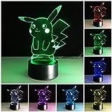 3D Illusion LED Nachtlicht, 7 Farben Allmählich wechselnde Touch Switch USB Tischlampe für...