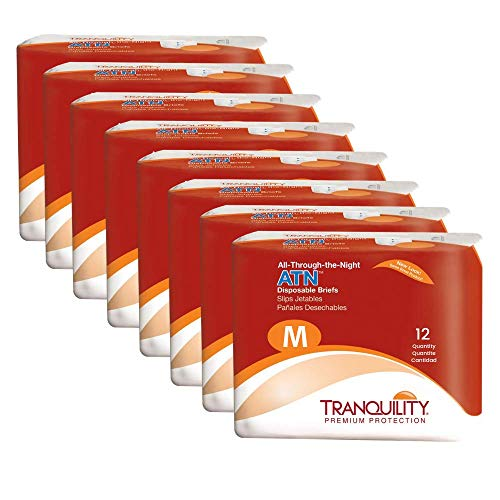 "Tranquility ATN Adult Disposable Briefs with All-Through-The-Night Protection, M (32""-44"") - 96 ct (Pack of 8)"