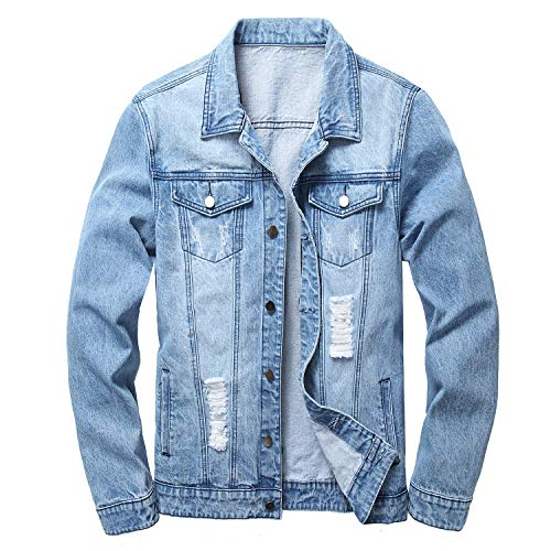 LAMKUKU Mens Denim Jacket Ripped Slim Jean Jacket Coat for Men