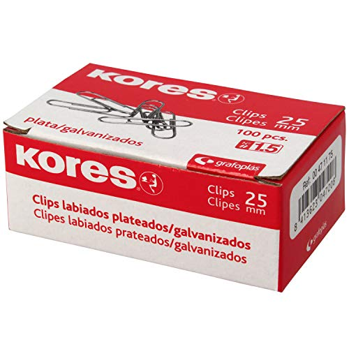 Kores 471175 Caja de Clips Galvanizados, Plateado, Nº 1.5 (25 mm) ✅