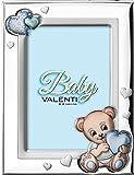 Valenti&Co - Cornice Porta Foto in Argento con dettaglio orsetto dipinto a Colori da Tavolo o Comodino per la Cameretta del Bambino perfetta come Idea Regalo Battesimo o Compleanno