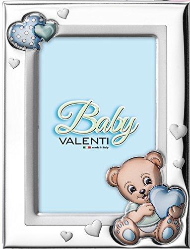 Valenti&Co - Cornice Porta Foto in Argento con dettaglio orsetto dipinto a Colori da Tavolo o Comodino...