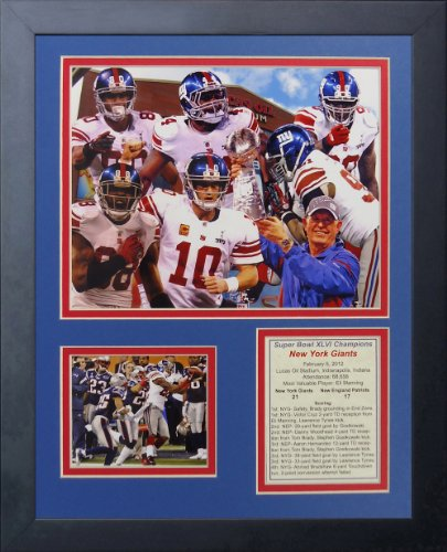 "2011 New York Giants Champions 11"" x 14"" Framed Photo Collage by Legends Never Die, Inc."