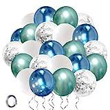 Globos de Cumpleaños Azules Verdes Blancos Plata Globos Helio 30cm Metalizados Confeti Globo Set con 10m Cinta para Boda Niño Comunion Bautizo Baby Shower Aniversario Fiestas Decoración