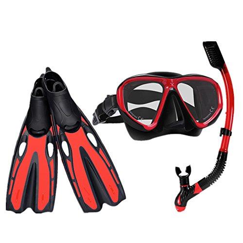 Zjcpow-SP Taucherflossen Scuba Snorkel Set Einstellbare Tauchflossen, Tauchmaske aus gehärtetem Glas und Trockenschnorchel for Männer und Frauen (Farbe : Rot, Größe : S)