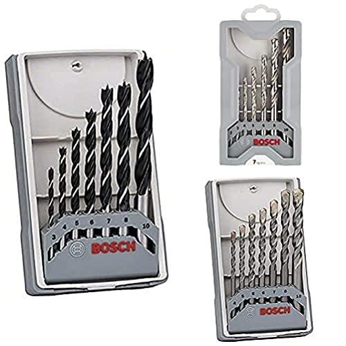 Bosch Professional Set Robust Line con 7 brocas helicoidales para madera + Set de 7 brocas para metal Mini X-Line HSS-G, 135°, (pack de 7) + Set de 7 brocas para hormigón CYL-3