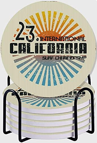 CIKYOWAY Posavasos para Bebidas,Vintage California Surf Beach Dibujo Aventura Cultura Tabla de Surf Juego de 6 Posavasos absorbentes con Soporte de Metal/Fondo de Corcho,para Casa Restaurante Y Bar