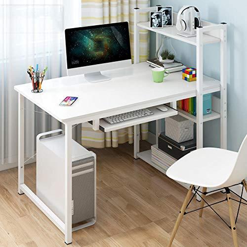 Escritorio,Escritorio Juvenil,Mesa de Estudio,Mesa escritorio grande ordenador,Computadora De La Sala De Estudio Con Estante De Almacenamiento Diy De 4 Capas-Blanco Con Teclado_100cmx45cmx72cm/110cm
