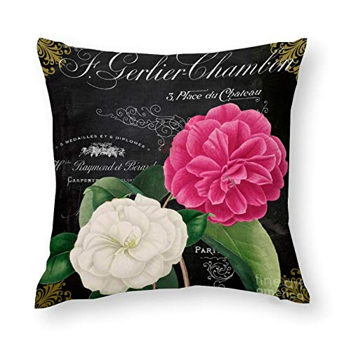 YYone Decorative Throw Pillow Covers Vintage Pattern Fleur Du Jour Camellias Decorative Throw Pillow Case Cushion Cover Cotton For Sofa Couch Chair Seat,Square 22 X 22 Inches