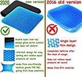 eClues Breathable Design, Durable, Portable Double Sided Medical Grade Gel Cushion Rubber Seat Pad, Cushion for Car, Office, Wheelchair and Chair for Back Pain Relief (16x15x1.65-inch, Blue)