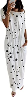 MU2M Women's Pockets Short Sleeve Star Print One Shoulder Casual Maxi Dress