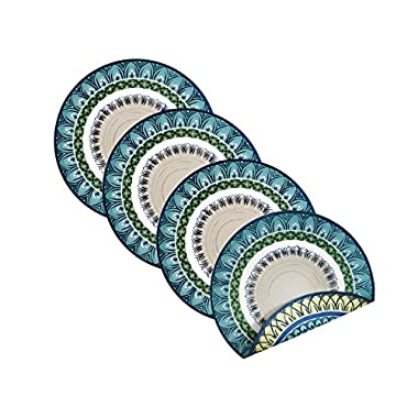 Villeroy and Boch Casale Blu Cotton Fabric Reversible Placemat (Set of 4), 15  Round, Multi