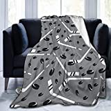 Throw Blanket Fluffy Blankets Grey Hockey Customized Lightweight Blanket for Couch Watching TV 60 x 50 Inch