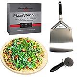 Juego de piedra de pizza profesional – piedra de cordierita, pizza y cortador. Perfecto para hornear pizza, pan o magdalenas