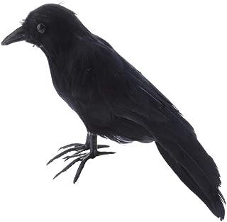 MIYU 1Pc Halloween Realistic Looking Birds Black Crows Halloween Prop Decor Out-Door Or Indoor Decoration