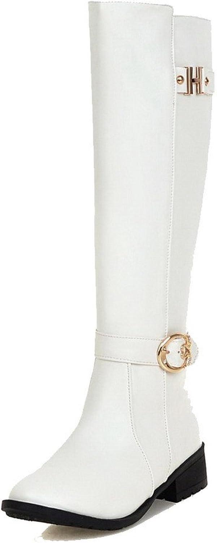 WeiPoot Women's Zipper Low-Heels PU Solid High-top Boots