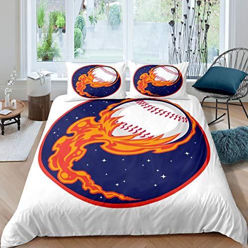 Juego de funda de edredón de béisbol, juego de ropa de cama deportiva para niños y niñas 3D Burning Ball funda de edredón para juegos de béisbol con 2 fundas de almohada, 3 piezas