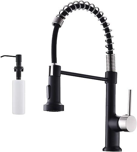 2021 GIMILI Spring Kitchen Sink Faucet with Soap popular Dispenser 2021 Matte Black&Brushed Nickel outlet sale