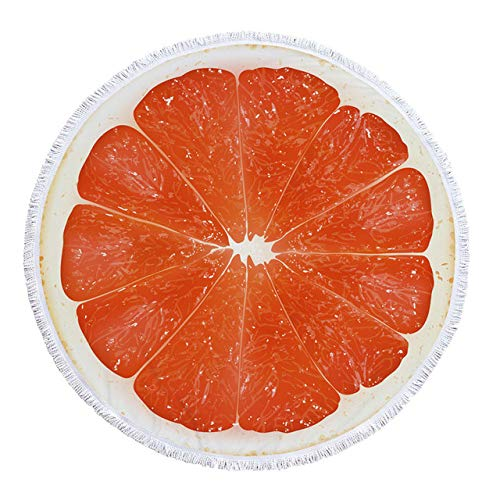 sxh2818517 Sandía Naranja Microfibra Toalla de Playa Redonda Toalla de baño de Fruta Gruesa Estera de baño