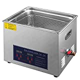 Hihone 15L Ultrasonic Cleaner, Stainless Steel Heated Ultrasound Cleaning Machine Digital Timer Temperature with Basket, Jewelry Glasses Cleaner Solution for Industrial Commercial