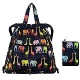 Van Caro Drawstring Backpack String Bag Foldable Cinch Tote Bag Gym Sack for Shopping Sport Yoga Elephant & Giraffe