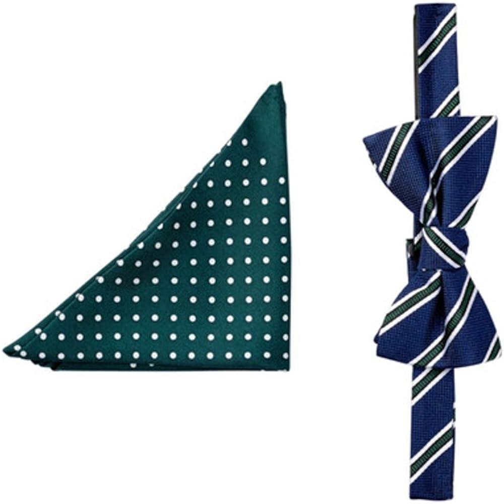 Tommy Hifiger Men's Stripe Dot Silk Bow Tie and Pocket Square Set Hunter