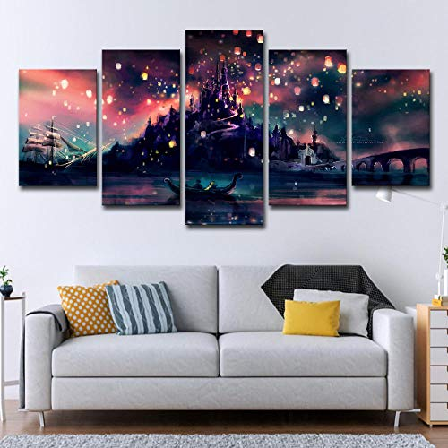 Fbhfbh Home Decor Hd 5 Piece Harry Potter Hogwarts Canvas Painting Ponte Citadel- 4X6/8/10Inch,Without Frame