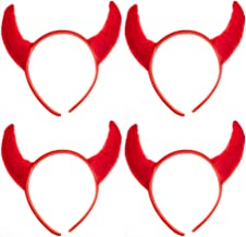 Devil Headbands - 4 Piece Polyester Red Halloween Devil Headbands for Costume Party