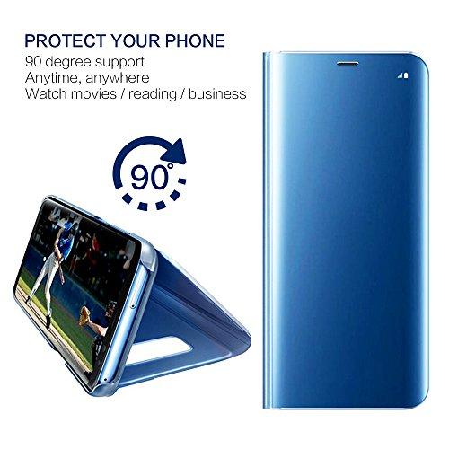 Kompatibel für Huawei Y7 2018 Hülle, Spiegel Hülle Flip Case für Huawei Honor 7C Handy Schutzhülle [Ständer] Dünn Clear View PC Plastik Hard Cover Handyhülle (Blau, Huawei Y7 2018/Honor 7C) - 2