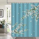 Bonhause Weißer Duschvorhang mit Blumenmuster, 180 x 180 cm, Blütenblumen, Badezimmer-Vorhang aus schimmelresistentem Polyestergewebe, mit 12 Haken