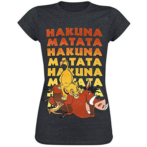 Lion King Disney Camiseta para Mujer No Worries Gray - S