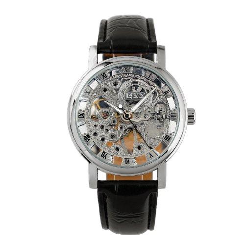 ESS Herrenuhr Armbanduhr Watch Uhr Skelett Handaufzug Leder Silber Schwarz
